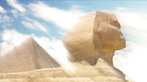 Timelapse. Clouds over the pyramid of Cheops and Sphinx. Giza Egypt 画像