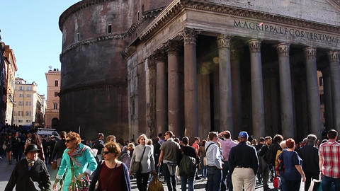 ROME, ITALY - March 25, 2017: Travelers and tourists visiting the Pantheon Footage