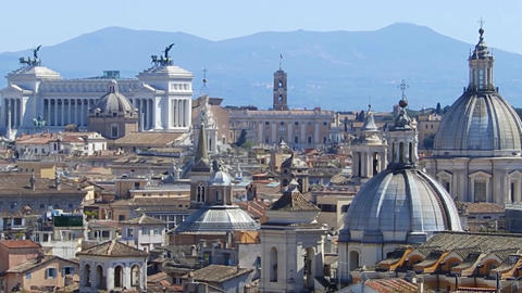 Panoramic view on the rooftops of Rome, Italy. Rome skyline. Panning shot Live Action