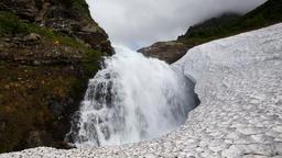 High cascade waterfall falling in snowball Footage