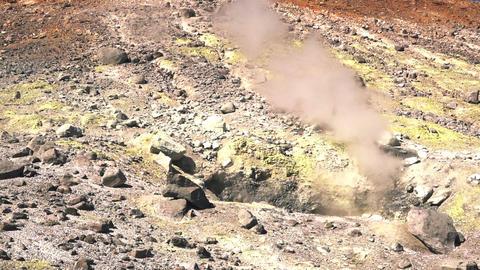Fumarole Field In Volcano Caldera Footage