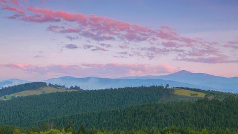 Evening over the Ukrainian Carpathians. Time Lapse Footage