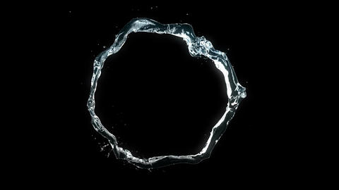 Beautiful Water Stream Forming Circle in Slow Motion. Looped 3d animation with A Animation