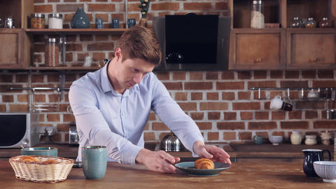 Caucasian male use smartphone photographed food Footage
