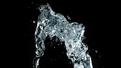 Beautiful Water Stream Close-up in Slow Motion. 3d animation. Full HD Animation