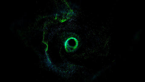 Particles dispersing and twisting. High quality clip rendered on high end Live Action