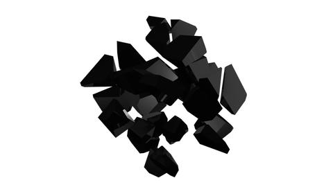Scattering and picking up a black cube on an isolated background. Abstract Footage