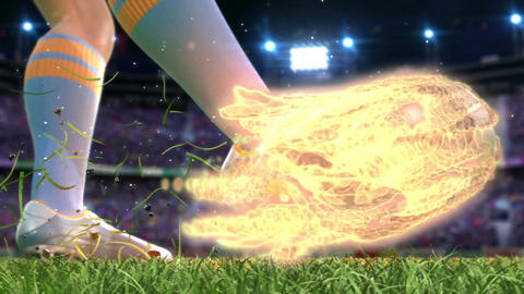 Shooting on goal in slow motion with burning soccer ball Animation