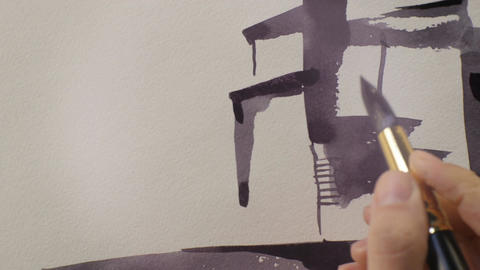 Macro Artist Draws Plant Picture with Asphalt Paint Colour Footage