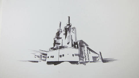 Camera Approaches Factory Picture Painted on Canvas Footage