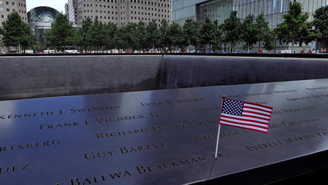 New York September 11, 2001 Memorial Waterfall - IV Footage