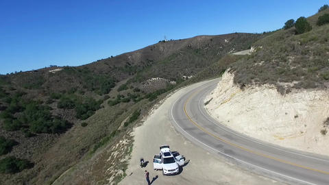 Los padres national forest, Aerial view on a family at a car, filmed above a Footage