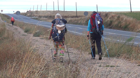 Pilgrim carrying a backpack in the baPilgrim carrying a backpack in the back, go Footage