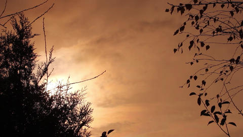Reddish sky at sunrise one morning autumn. White clouds move across the sky. The Footage