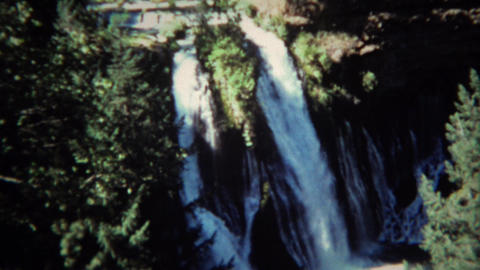 1971: Burney Waterfall Sign And Cold Majestic Blue Pools stock footage