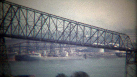 1971: Historic Hawthorne steel city bridge crossing Willamette River Footage