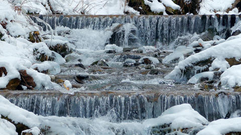 Winter waterfalls in the mountains Footage