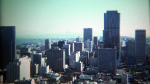 1971: Skyline of city looking south on financial district and downtown Footage