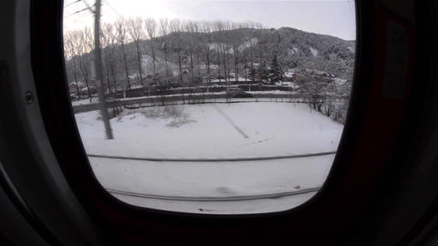 View out of the train window with fish eye lens 23 Footage