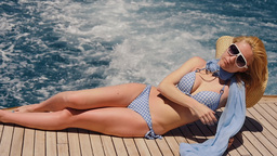 Bikini Female Enjoying The Cruise On Yacht Footage