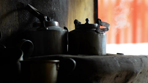Close shot of Tea-Kettle in a roadside shop Footage