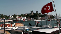 Turkey the Aegean Sea Bodrum 010 old castle behind old ships Footage