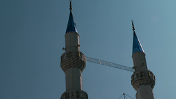 Turkey the Aegean Sea Bodrum 002 two minarets with blue tops Footage