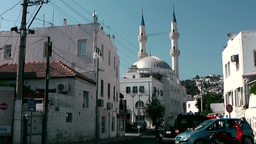 Turkey the Aegean Sea Bodrum 004 street with imposing mosque Footage