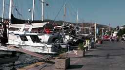 Turkey the Aegean Sea Bodrum 021 pier with berthed boats Footage