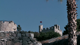 Turkey the Aegean Sea Bodrum 026 ruins of medieval castle Footage
