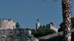 Turkey the Aegean Sea Bodrum 026 ruins of medieval castle Footage