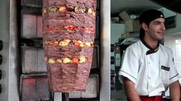 Turkey the Aegean Sea Bodrum 028 doner kebab takeaway Footage