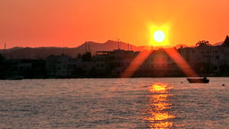 Turkey the Aegean Sea Bodrum 045 colorful sunset in the bay Footage