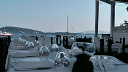 Turkey the Aegean Sea Bodrum 032 open air restaurant at beach Footage
