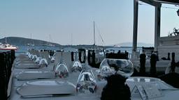 Turkey the Aegean Sea Bodrum 032 open air restaurant at beach Footage