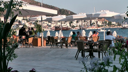 Turkey the Aegean Sea Bodrum 035 restaurant at waterfront promenade Footage