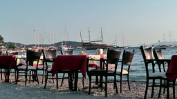 Turkey the Aegean Sea Bodrum 040 restaurant furniture on sands Footage
