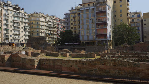Thessaloniki, Greece Navarinou square archaeological ruins of the palace of Gale Footage