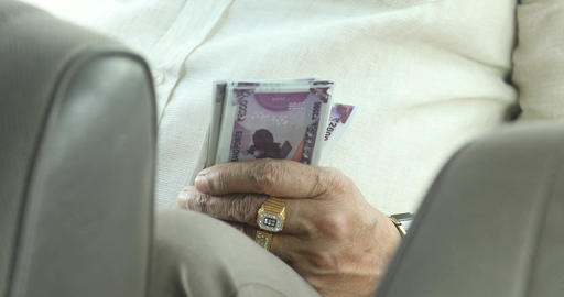 Man Counting Indian Currency Footage
