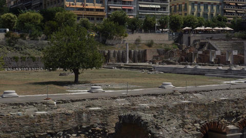 Thessaloniki, Greece Roman Forum ancient ruins day view ビデオ