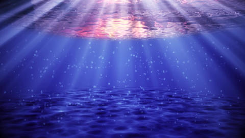 Blue Ocean Sea Underwater at Sunset With Bubbles Environment Background Animation