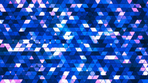 Broadcast Twinkling Squared Hi-Tech Triangles, Blue, Abstract, Loopable, 4K Animation