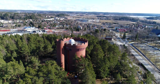 Halikko watertower, Cinema 4k aerial fly away view of Halikko water tower, on a Footage