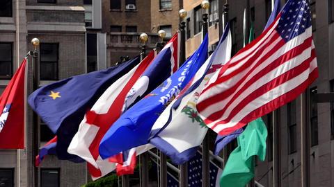 New York Rockefeller Plaza Flags 03 Live Action