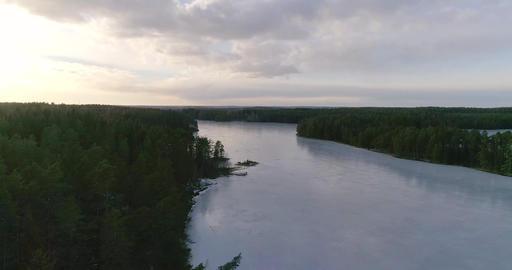 Matildanjarvi, Cinema 4k aerial of flying above matildanjärvi lake, in Footage