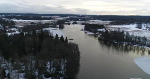 Mustio pond, Cinema 4k aerial view above mustio pond and towards peltokoski dam, Live Action
