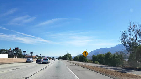 Interstate 10, Driving on route 10, on a sunny day, towards josua tree national Live Action