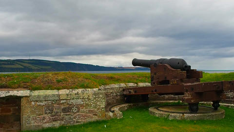 Fort George, Inverness, United Kingdom - 20 august 2017: cannon on Fort George's Live Action