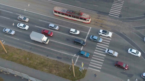 Busy intersection. View from above Footage