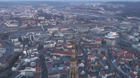 Drone flying around the Ulm Minster Tower Footage